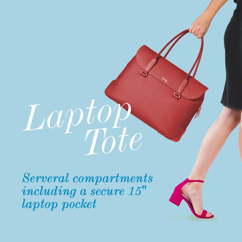 Lipault - Plume Elegance Tote Bag - 15.6'' Laptop Top Handle Shoulder Handbag for Women - Ruby by Lipault (Image #4)