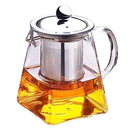 Forepin 350 ml Tetera de cristal con infusor, microondas y ...