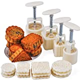 SOEKAVIA 4 Sets 12 Motif Hand-Pressure Moon Cake Mold 100g/50g Flower Round and Square Snowy Moon Cake Mold Bakeware Mid-Autumn Festival (White)