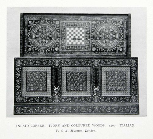 [1927 Print Italian Inlaid Coffer Kist Chest Decoration Panel Colored Wood Italy - Original Halftone Print] (Inlaid Italian)