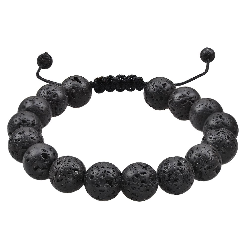 Jeka Lava Stone Bracelet Stretch Beads Black Healing Energy Jewelry Men Women Handmade Braided Adjustable JBL1C