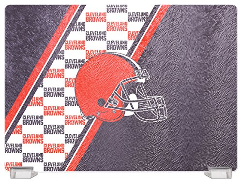 NFL Cleveland Browns Tempered Glass Cutting Board with Display Stand
