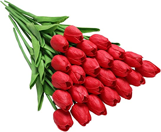 Un Mazzo Di Fiori Composto Da 5 Rose 7 Tulipani.Tifuly 24 Pezzi Di Tulipani Artificiali In Lattice Realistici