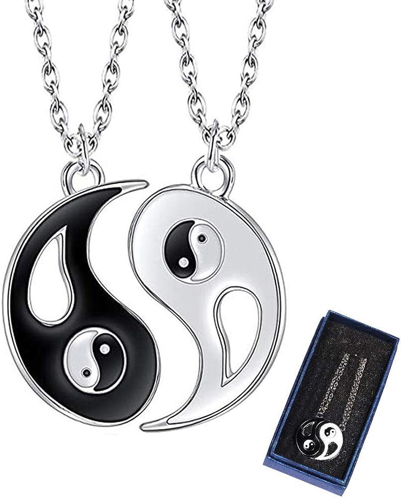 kitteny Collar Ying Yang,Jewelry Puzzle Colgante en diseño Yin-Yang para niños, niñas, Mejores Amigos, Amantes y Parejas, 2 Collares de aleación, Regalos para Parejas