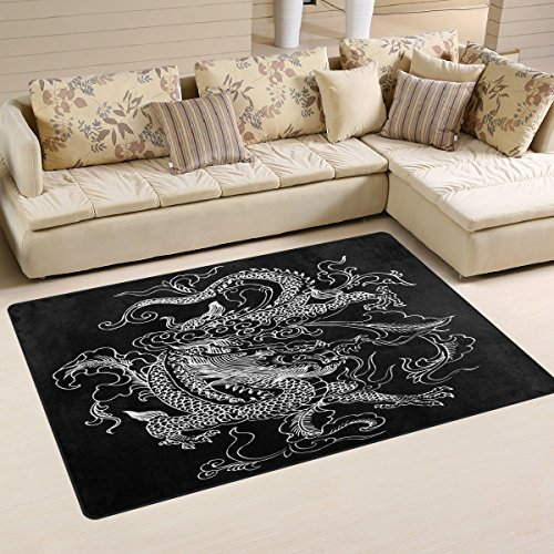 Fish Bowl Head Costume (Chinese Dragon Area Rug Carpet Floor Mat For Dining Room Living Room Bedroom, Size 5'X3'3