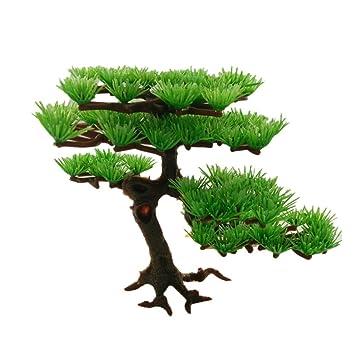 YOSPOSS Árbol Artificial de plástico Verde para Decoración de Acuario, pecera, Bonsai para Hotel Rockery: Amazon.es: Productos para mascotas