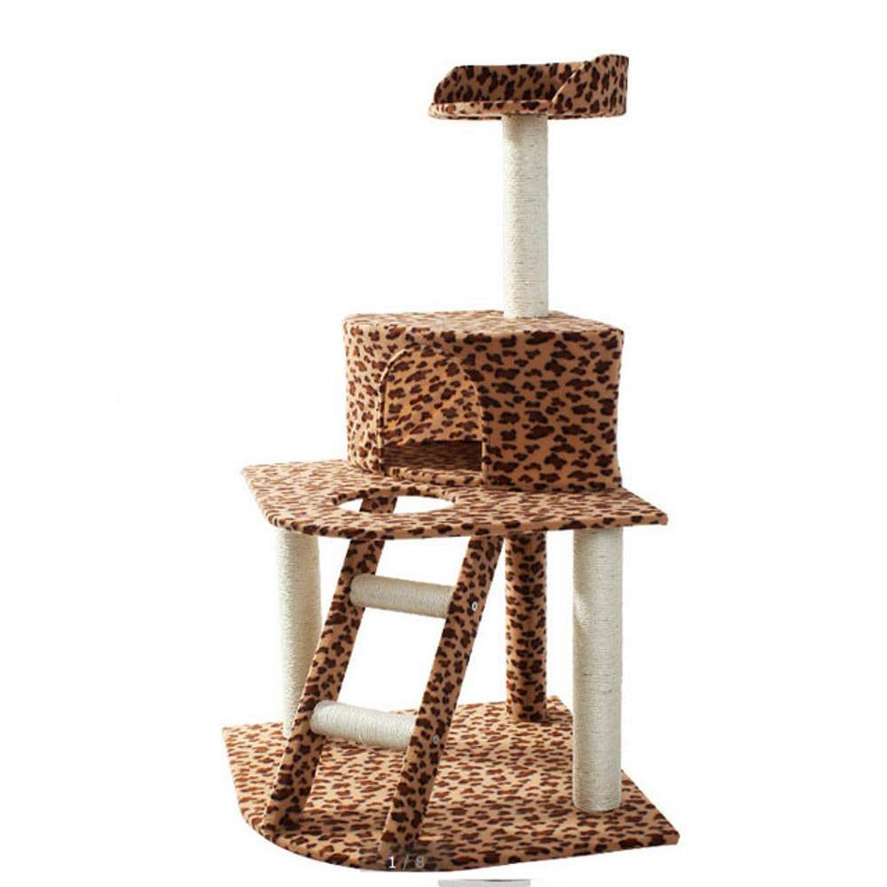 Hexiansheng Cat Climb Trees Leopard Grain Three Layer cat Scratch 50  50  114cm