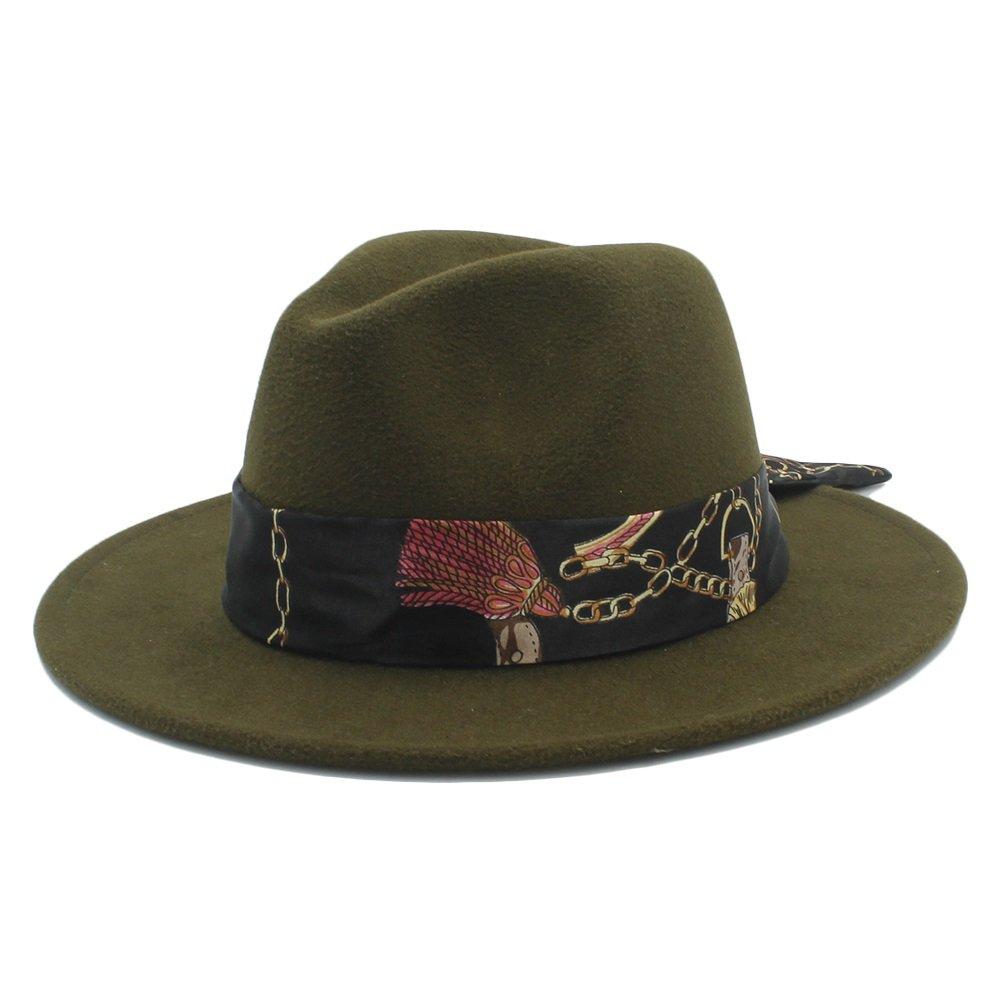 Y-WEIFENG New Sombrero Sombrero Sombrero de Fedora de Lana para Hombre con Cinta de Campana Iglesia de Jazz de ala Ancha otoñal de Invierno (Color : 10, tamaño : 57-59CM) 81355e