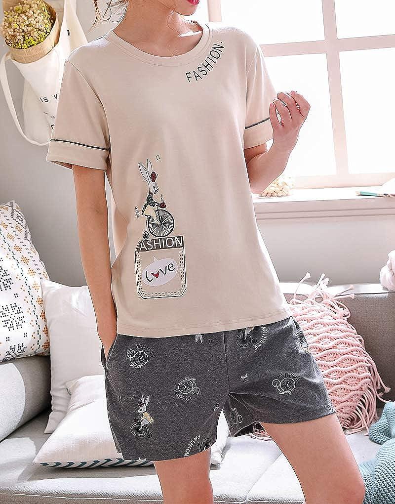 Vopmocld Big Girls Summer Pajama Short Sets Cute Fashion Bunny Sleepwear Cotton Nightclothes