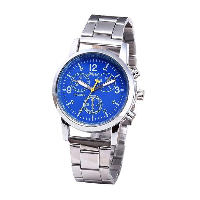 Hombre Casual Deportes Reloj de Cronógrafo de Cuarzo Analógico Moda Pulseras de Acero Negocios,Relojes de Hombre BBestseller (Azul): Amazon.es: Relojes