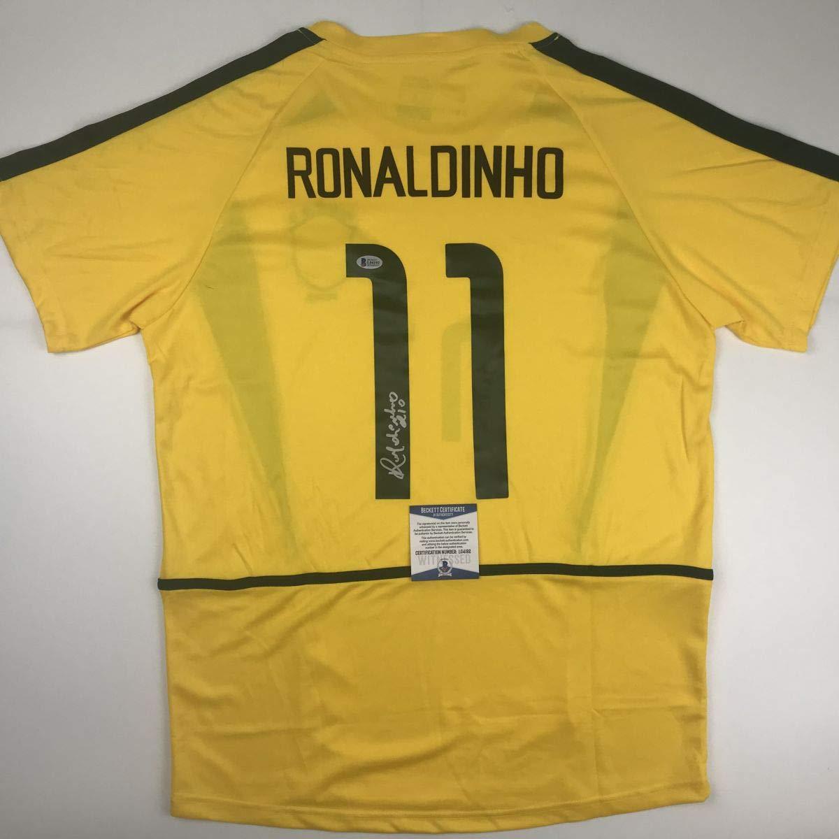 Autographed//Signed Ronaldinho Brazil Yellow World Cup Soccer Futbol Jersey Beckett BAS COA