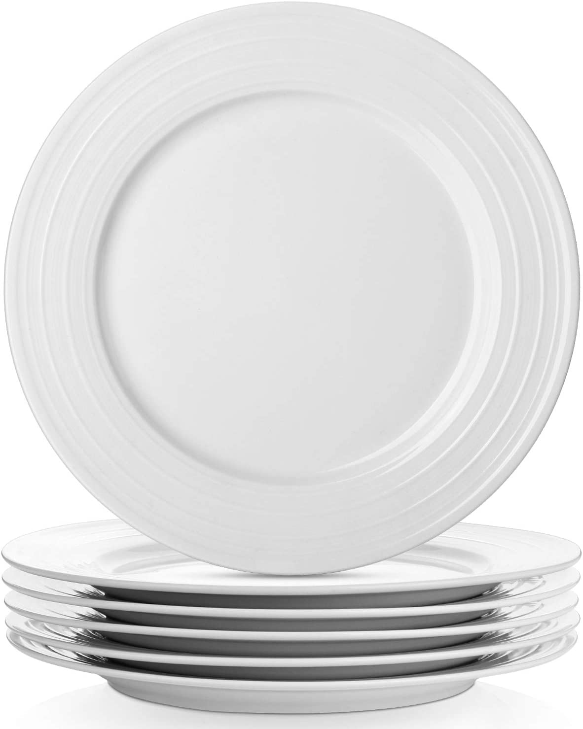 LIFVER 7-Piece White Dinner Plates Set, 7 Inches Porcelain Plates Set of  7,White