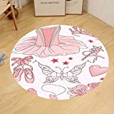 Gzhihine Custom round floor mat Teen Girls Decor Collection Set of Princess Ballerina Classic Costume Shoes Tiara Roses Image Pattern Bedroom Living Room Dorm Pink
