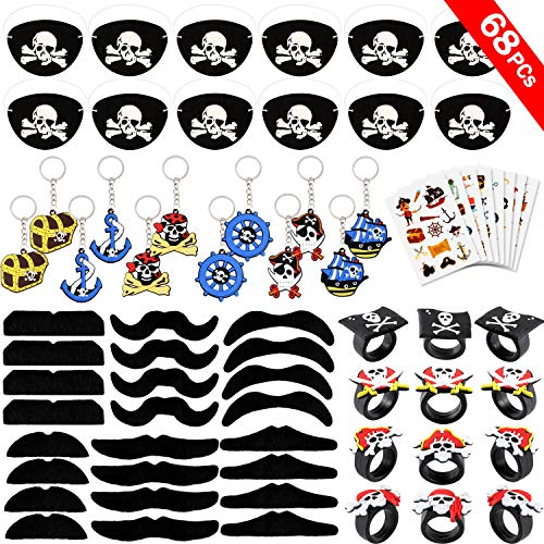 Qunan 68 Pcs Pirate Party Supplies Favors Pirate Eye Patch Mustache Pirate Keychain Rings Tattoos Stickers Pirate Party Favor Decor Captain Kids Halloween Pirate Costume Accessories