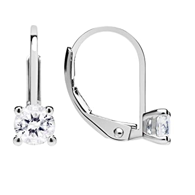 f9619a28ae8 Amazon.com  14K Solid White Gold Earrings