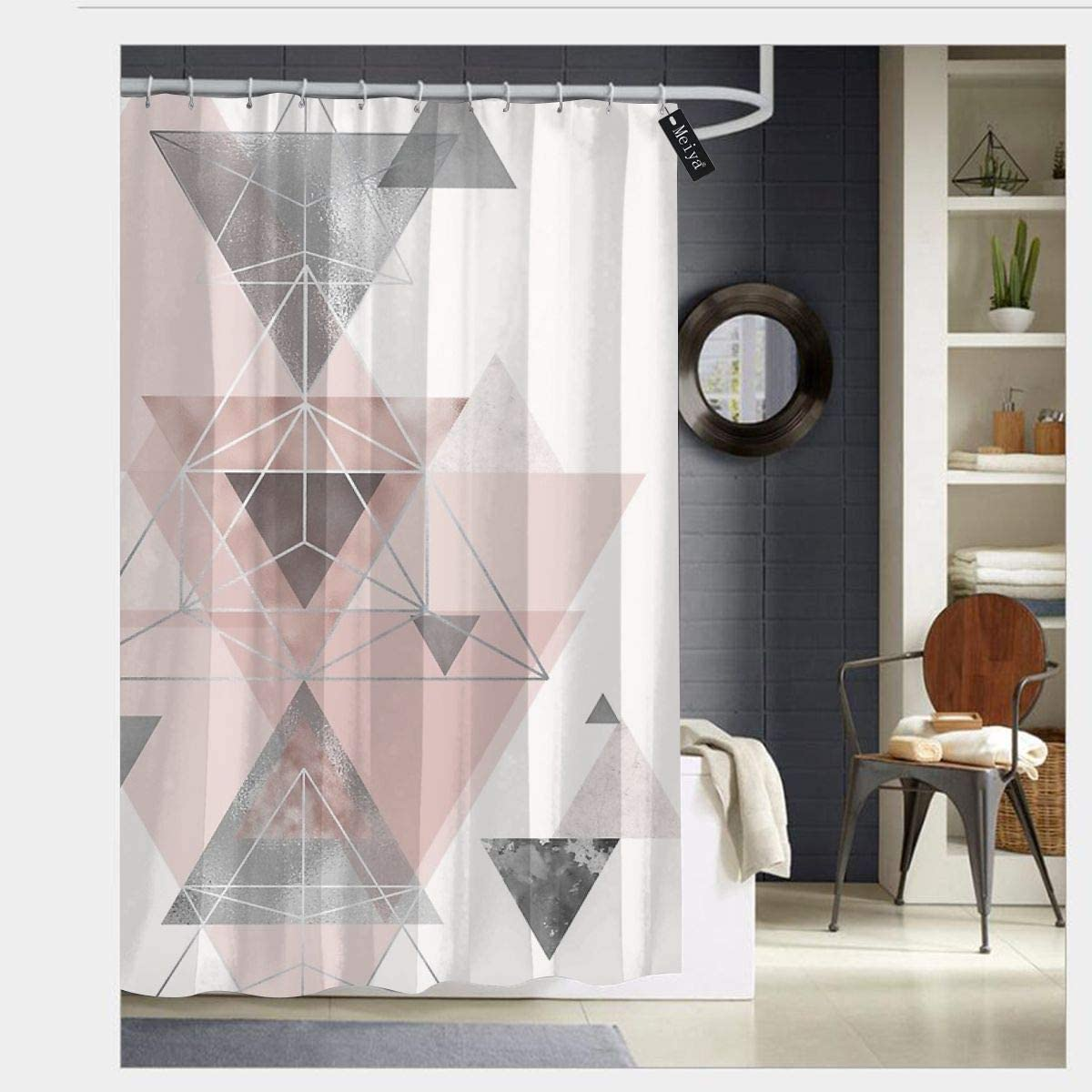 blush pink and grey shower curtains