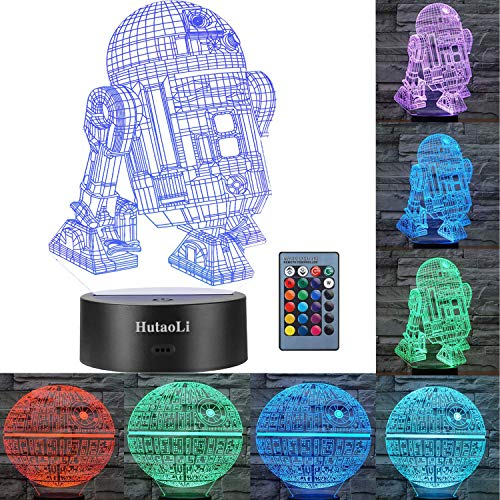 3D Star Wars Night Lights 2 Modes and 7 Color Variations Star Wars Decorative Lights -R2-D2 and Death Star The Best Gift for Children and Star Wars Fans (Dinosaur Night Light) ()