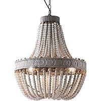 Newrays Retro Loft Vintage Rustic Round Wooden Beads Pendant Lamp E27 Led Hanging Lamp Decor Lights Modern for Living…