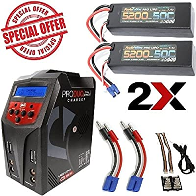 PowerHobby 2S 11.1V 5200mAh 50C Lipo 2 Pack EC5 w/ Venom Pro Duo 80W Charger