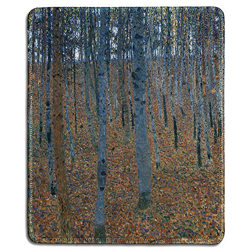 dealzEpic - Art Mousepad - Natural Rubber Mouse Pad with Famous Fine Art Painting of Beech Grove I by Gustav Klmit - Stitched Edges - 9.5x7.9 inches