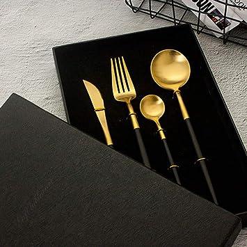 Cuchillo Y Tenedor Portugués Oro Negro Acero Inoxidable 304 ...