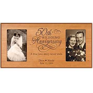 50th Anniversary Picture Frame Gift Personalized Wedding With Couples Names And Dates Golden