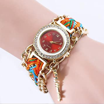 SW Watches Relojes De Pulsera Para Niña Con Diamond Face Y Boho Color Weave, Relojes