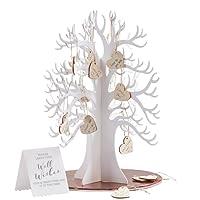 Wunschbaum aus Holz als Gästebuch zur Hochzeit inklusive 70 Holzherzen zum Hängen an den Baum