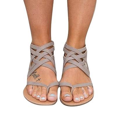 Kootk Frauen Sandalen Flach Sommerschuhe Zehentrenner Sandalette Strandschuhe Abendschuhe Mode Sandaletten Schwarz 41 cMpg0