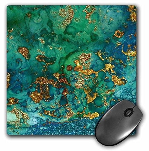 3dRose Art Print of Green Indigo Gold Marble Agate Mineral Malachite Quartz Mouse Pad (mp_275046_1)