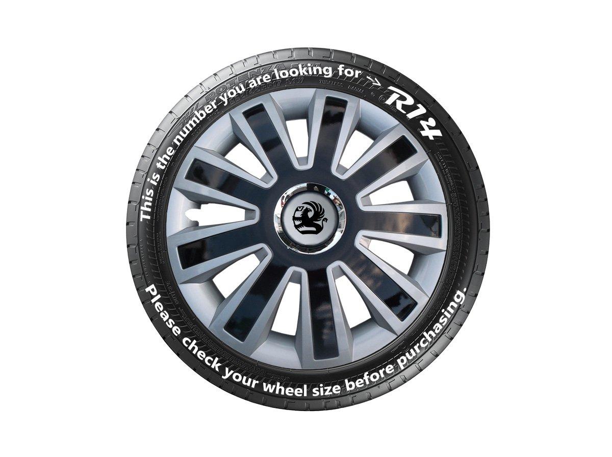 VAUXHALL CORSA REPLICA, tapacubos negro y plata de 14 pulgadas–Juego de 4 tapacubos, compruebe el tamaño del neumático antes de realizar el pedido.
