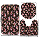 3 Piece Bathroom Mat Set,Rose,Pattern with Old Fashioned Corsage and Bouquets Antique Feminine Floral Inspired Grace,Multicolor,Bath Mat,Bathroom Carpet Rug,Non-Slip