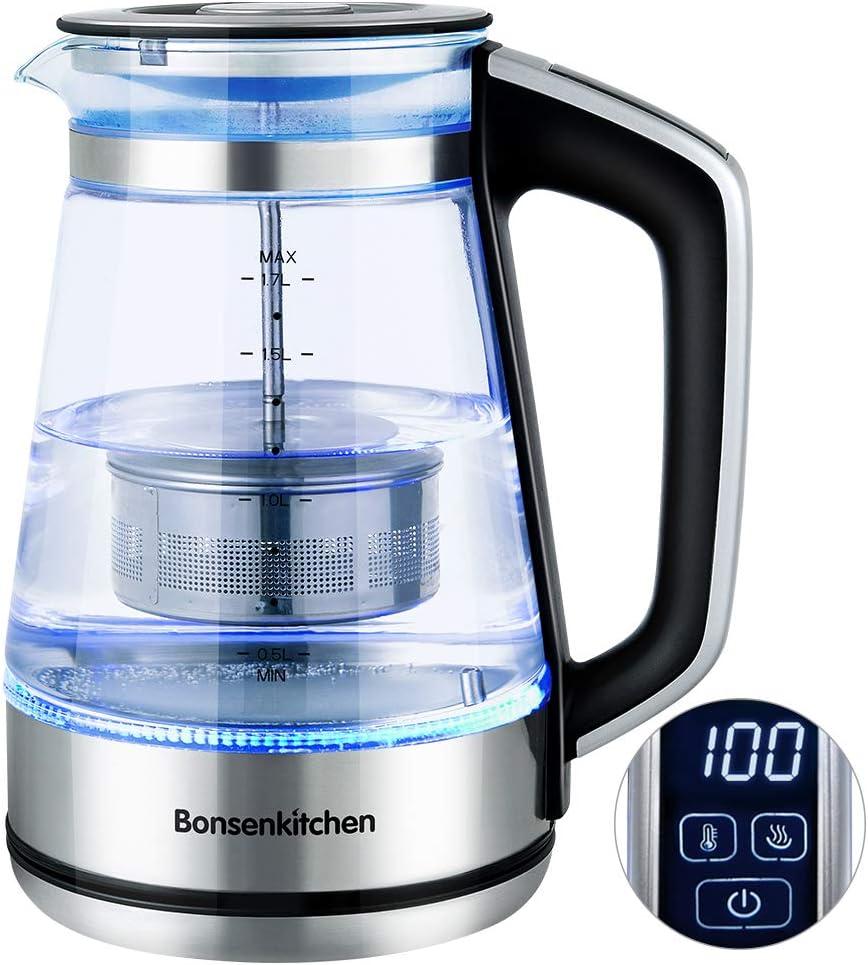 Amazon.de: Bonsenkitchen 1.7L Glas Wasserkocher/Teekanne - Digital Temperaturregelung Glas Teebereiter für Tee oder Kaffee - Teekocher