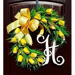 Yellow Tulip Monogram Initial Wreath for Summer Door Decor-Memorial Day, Veteran's Day, Labor Day 90