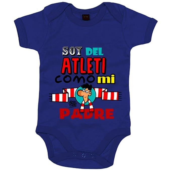 Body bebé Atlético de Madrid soy del Atleti como mi padre - Amarillo, 6-12 meses: Amazon.es: Bebé