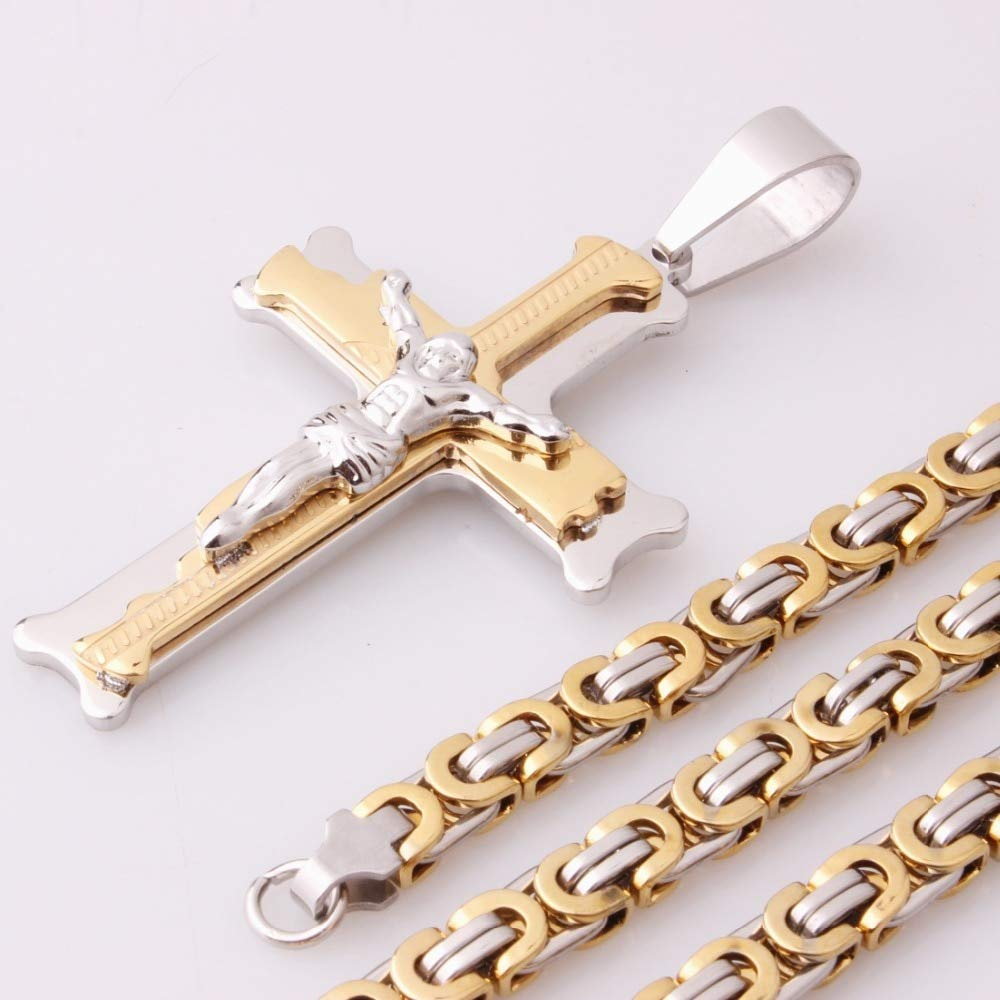 Metal Color: Gold, Main Stone Color: 32inch or 81cm Davitu Fashion Male Cross Pendant Silver Gold Stainless Steel Jesus Cross Pendant Byzantine Link Chain Necklace Jewelry for Men