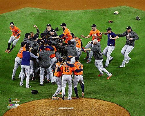 The Houston Astros, On The Mound Celebration Moments After Winning The 2017 World Series 8x10 Photo Picture.(mound)