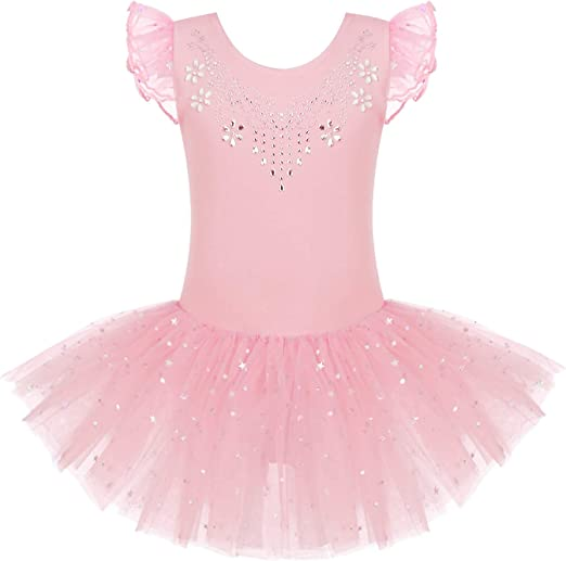 Zaclotre Kid Girls Ruffle Sleeve Ballet Skirted Leotard Shiny Dance Tutu Dresses