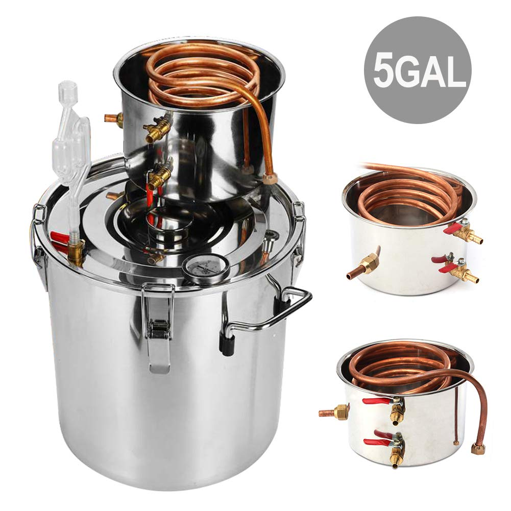 Slsy 5 Gallon Moonshine Still Water Alcohol Distiller, 18 Liters DIY Whiskey Still Stainless Steel Spirits Boiler with Copper Tube, Home Brew Wine Making Kit by Slsy