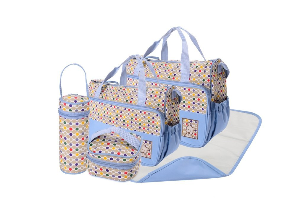 5pcs POLKA DOT Baby Nappy Changing Bags Set Diaper Hospital Bag 5pcs Light Blue Polka Dot Bags