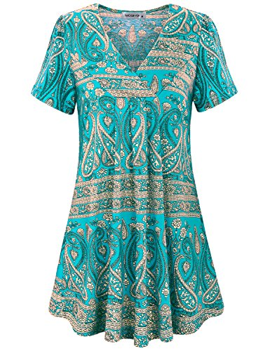 MOQIVGI Vintage Blouse, Junior Cute Sexy Floral Lightweight V Neck Tops Modern Flattering Knit A-Line Career Short Sleeve Women Tunic Professional Baggy Petite Shirt Multicoloured Green Large (Shirt Old Navy Ladies Junior)