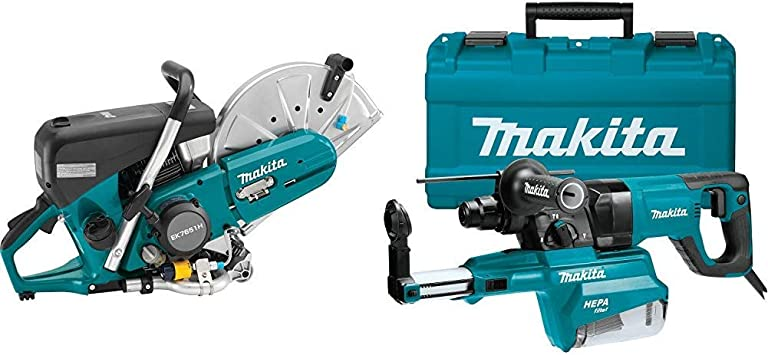 Makita EK7651H 14-Inch 75.6 cc MM4 4-Stroke Engine Power Cutter with HR2661 1-Inch AVT Rotary Hammer, accepts SDS-PLUS bits, w/HEPA Dust Extractor (D-handle)