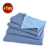 SearchI 500 GSM Plaid Cotton Terry Kitchen Towel Dish Towels Set of 4 Fade-Resistant Soft Absorbent Checked Kitchen Bar Towels Dish Cloths 13 x 30 inch (Blue)