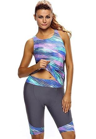 4abe0896d6 Amazon.com: Akaeys Womens Boyleg 2 Piece Swimsuit Knee Length Swimwear  Surfing Suit Sleeveless Rash Guard: Clothing