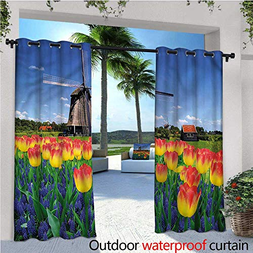 (warmfamily Landscape Exterior/Outside Curtains Blooming Tulip Windmill for Patio Light Block Heat Out Water Proof Drape W108 x L96)