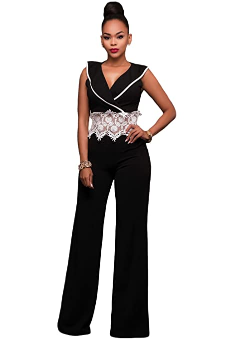 Nuevo Blanco y Negro de la mujer Crochet encaje cintura amplia pierna Mono Catsuit Body Pelele