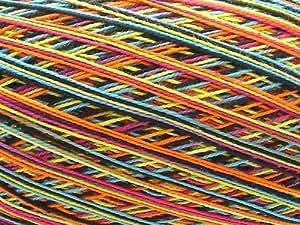 Ovillo grande de hilo de algodon color multicolor matizado vibrante. Para crochet y tejer (150g 1.000m)