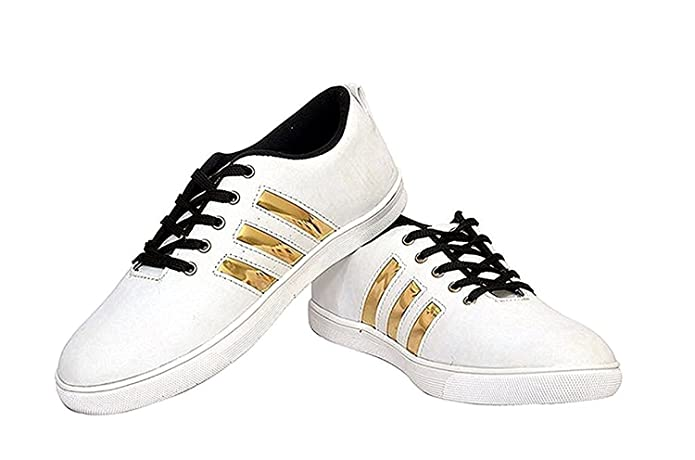f834b44def065 Trane Shoes Perfect Stylish White Gold Sneaker Shoes for Men s - 9 UK  Buy  Online at Low Prices in India - Amazon.in