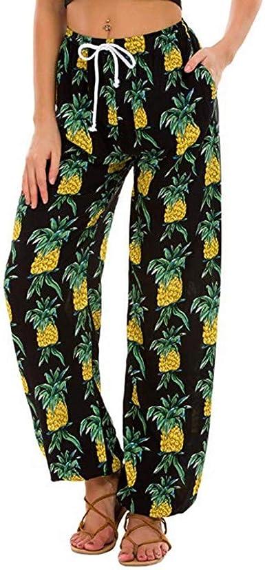 Pantalones Casual Para Mujer Verano Pantalones De Linterna Transpirable Pantalones Anchos Mujer Pantalones De Playa Estampados Para Mujer Pantalones Para Mujer Con Estampados Hawaianos Amazon Es Ropa Y Accesorios