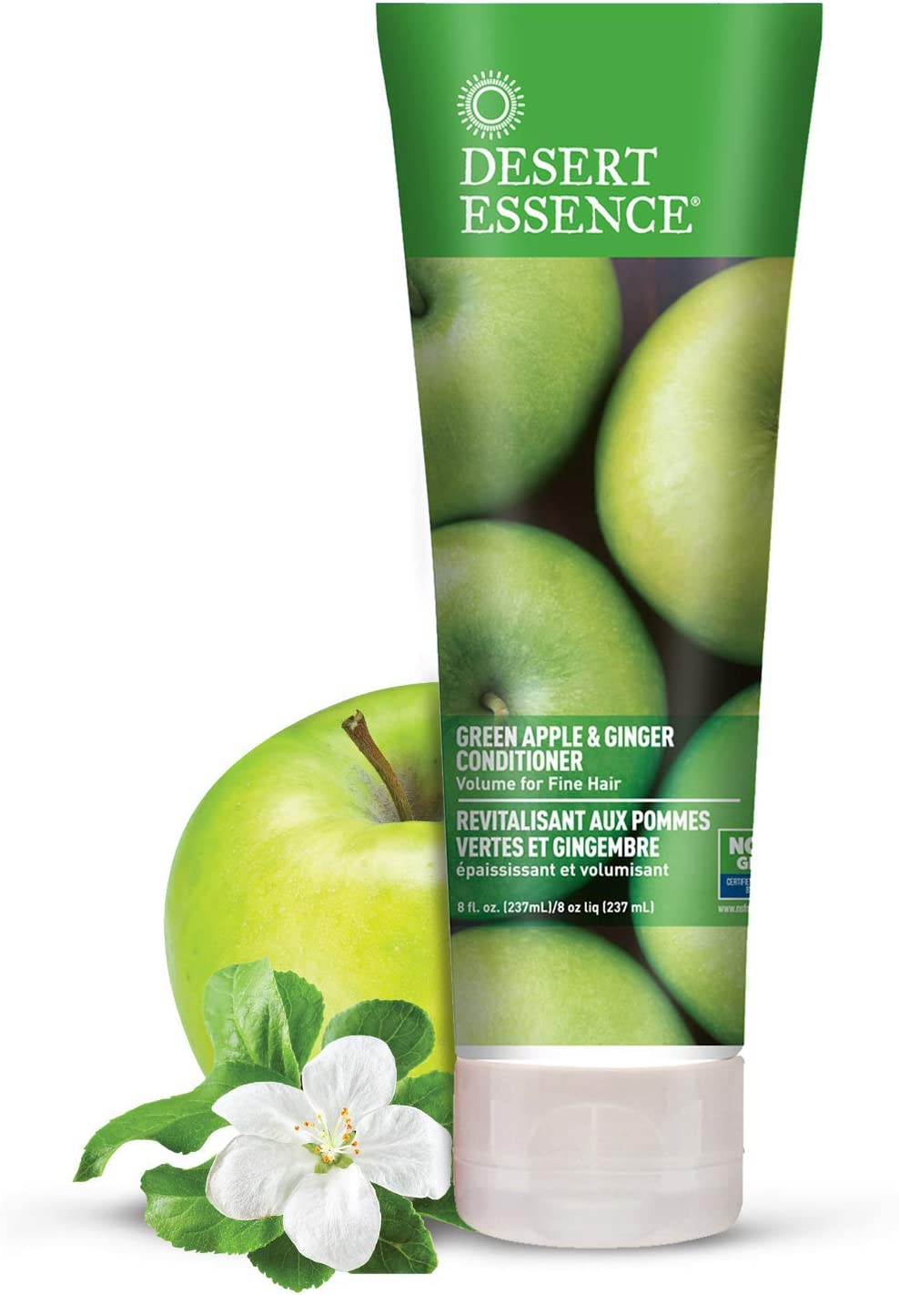Desert Essence Green Apple and Ginger Conditioner - 8 fl oz - 2 Pack - Volume for Fine Hair - Moisturizing, Thickening, Volatizing - w/Organic Extracts and Oils, Vitamins, Antioxidants - Paraben-Free